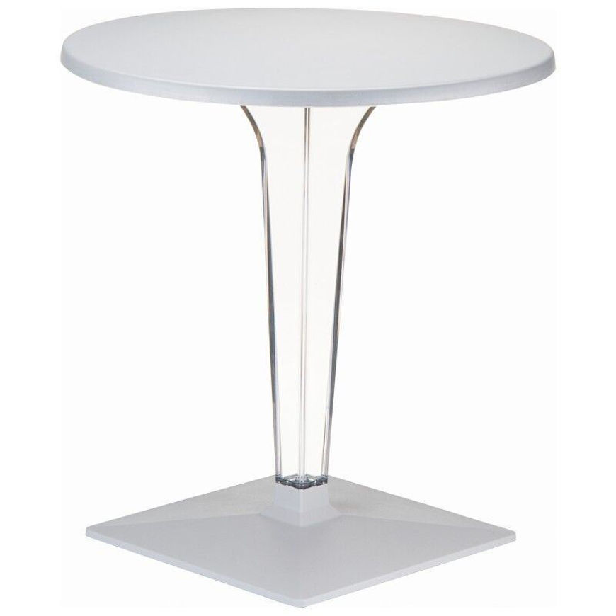 Picture of Ice Werzalit Top Round Dining Table with Transparent Base 32 inch