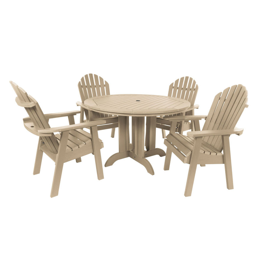 """Picture of Commercial Grade 5 Pc Muskoka Adirondack Dining Set with 48"""" Table"""